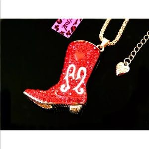 Red Blinged out Betsey Johnson boot necklace J51